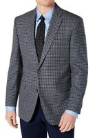 Tommy Hilfiger Mens Blazer Gray 42 Long Gingham Modern Fit Two-Button $295 231
