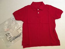 Nwt Lands' End Little Kids M 5-6 Red Pique Mesh Short Sleeve Uniform Polo Shirt