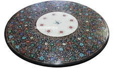 """36"""" Black Marble Dining Center Table Top Precious Inlay Marquetry Home Decor"""