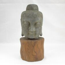 C807: Chinese Buddha's head statue of stone ware with very good atmosphere