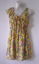 6 Degrees Yellow Floral Sleeveless Ruffle V Neck Front Sun Dress Sz M