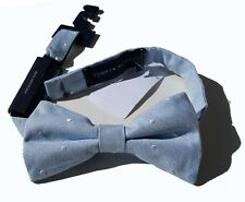 NEW Tommy Hilfiger Silk Bow Tie Blue Clip on Pre-tied A3790