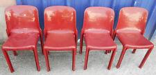 Lot 4 Chaises Selene Vintage en Fibres de Verre Rouges par Vico Magistretti