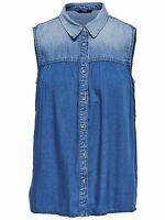 9/4 NEU ONLY Damen Jeans Sommer Top Hemd Shirt onlJANA S/L DNM SHIRT QYT  Gr. 38