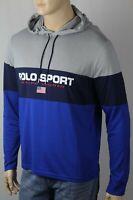Polo Sport Ralph Lauren Grey Blue Performance Long Sleeve Lightweight Hoodie NWT