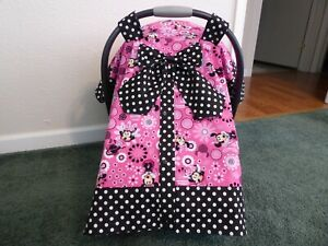**MINNIE MOUSE** w/Bow & snap front Handmade Baby Car Seat Canopy-Cover
