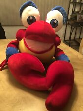 "Huge !! Disney's Little Mermaid Sebastian the Crab Stuffed Plush Toy 18"" EUC"
