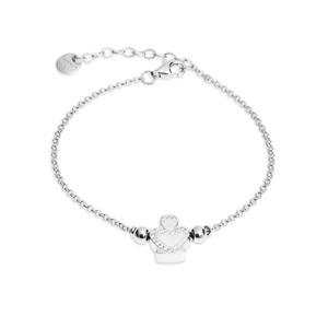 Bracciale argento rodiato donna angelo zirconi brillanti portafortuna regalo