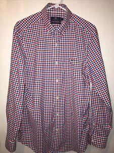 Vineyard Vines Shirt Mens Medium Red Check Performance Classic Fit Tucker Shirt