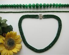"1 or 3 Rows Faceted Green Emerald Abacus Beads Necklace 17-19"" - New."