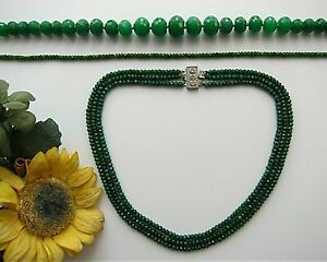 """1 or 3 Rows Faceted Green Emerald Abacus Beads Necklace 17-19"""" - New."""