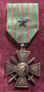 WW1 French CROIX DE GUERRE 1914 - 1918 MEDAL w/ Star Citation Army Military