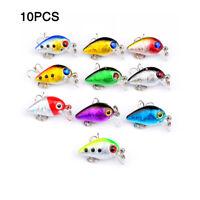 10pcs/lot Fishing Lures Crankbait Bass Tackle 10-Color Minnow Baits Treble Hooks