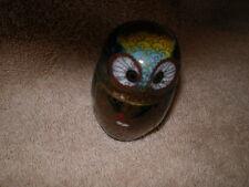 vintage Cloisonne' Enamel & Brass Owl collectible box