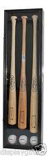 Pro UV Baseball Bat Display Case Wall Cabinet Shadow Box, Holds 3 Bats B33-BLA