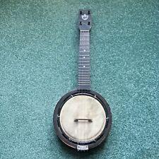 More details for old keech banjulele banjo, signed alvin d keech.