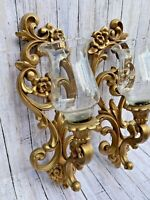 Pair Of Vintage HOMECO Syroco Burwood Wall CANDLE Sconces #4118 #4119