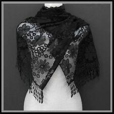 "EASTER WEDDING PASHMINA SCARF SHAWL BLACK LACE FORMAL DRESS 68"" FRINGE FUNERAL"