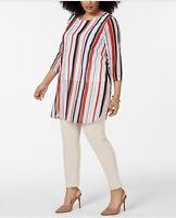 Alfani Womens Blouse Tunic Scoop Neck 3/4 Sleeve Red Bermuda Stripe 3X New