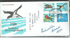 British Virgin islands 1980 Birds used on signed cover