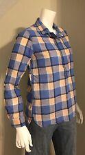 Women's Gap Size XS Blue Plaid Long Sleeve Half Button Shirt