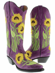 Womens Purple Cowboy Boots Snip Toe Flower Embroidered Leather Size 5