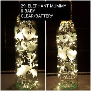 REDUCED... ELEPHANT MUMMY BABY HAND ETCHED CLEAR, LIGHT UP BOTTLE, BATTERY,