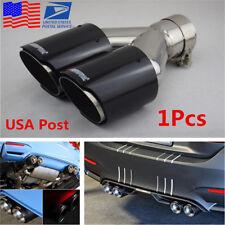 1x Black Glossy Real Carbon Fiber Car Exhaust Dual Pipe Tail Muffler Tip 63-89mm