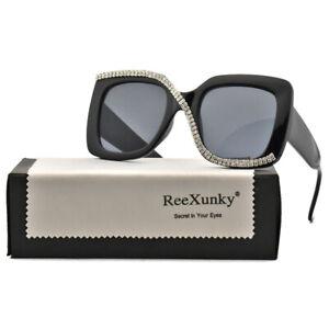 Trending 2021 Rhinestone Square Sunglasses Women Outdoor Oversized Shades UV400