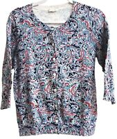 Talbots Petites Sz PS? Blue Paisley Button Front Cardigan Knit Top ¾ Sleeves