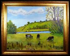 Original Irish Art Oil Painting Titled Grazing by the River Bann Signed Dated