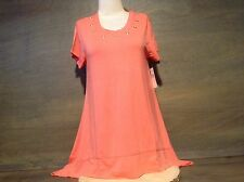 Womens ALLIE and ROB GROMMET TRIM CURVED HEM TOP PEACH SIZE SMALL NEW NWT