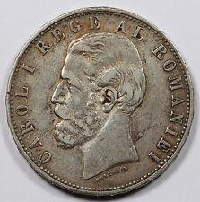 Romania 1882 B 5 Lei 25 Gram Silver Coin VF/XF KM #17.1 Carol I Better Date
