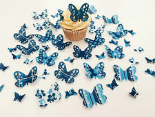 48 Edible Navy Heaven Heart Detail Butterflies Pre Cut Wafer Cupcake Toppers
