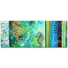 Contemporary Beach Decor Coastal Bathroom Art Seahorse Painting Sea Life Artwork