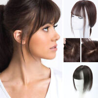 Handmade Straight Human Hair With Flat Bang Mono Base Clip in Hairpiece Topper