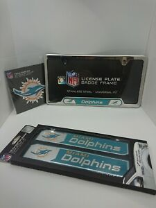 NFL Miami Dolphins Official 3pc Truck Emblem Kit - License Plate Accent Kit