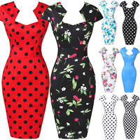 Retro Vintage Wiggle Dress 50s Party Pin-Up Floral/Polka Bodycon Pencil Dresses