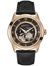 Bulova 97A116 Automatic Black Leather Strap Watch 42mm Rose Gold Case Black Dial