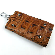 Men Vintage Retro Embossed Genuine Leather 6 Keyrings Button Key Chains Holder