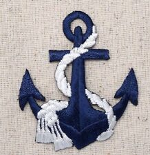 Iron On Embroidered Applique Patch Nautical Navy Blue Anchor with White Rope