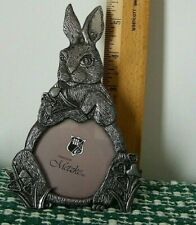 Metal {Pewter} Photo Frame by Metzke   Rabbit with Heart Shaped Flowers 1980's.