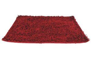 DaDa Bedding Soft Dark Red Burgundy Noodle Chenille Shaggy Bath Mat Rug Carpet