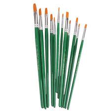 12 Pcs. Assorted Size Artist Painting Flat Brush Set (Green) V5B8
