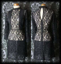 Gothic Black Sheer Lace Panel VICTORIAN GOVERNESS High Neck Dress 10 12 Vintage