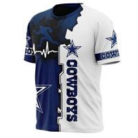 Dallas Cowboys Football T Shirt Men's Summer Crew Neck Shirts Short Sleeve Tees