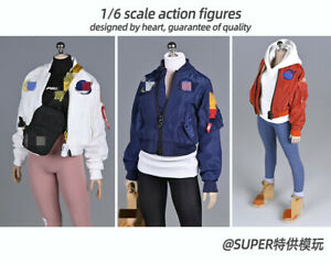 1/6 Female ma1 Air Force Flight Jacket Coat Clothes Fit 12'' PH TBL Figure Body