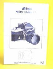 Instruction Manual for Nikon Nikkor 135mm f/2,8 Ai in very good condition!