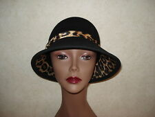 Womens Hat Nine West Black Bucket 100% Wool Winter Leopard Animal Print Trim NWT