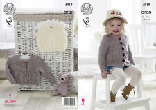 King Cole Girls Aran Knitting Pattern Childrens Cabled Cardigan & Slipover 4919